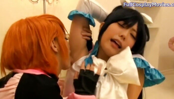 Japanese gals in uniforms use a dildo for mutual pleasure