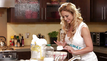 Cherie DeVille and Alina West are licking in the kitchen