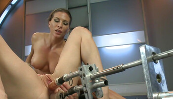 Brunette lesbian & blonde MILF help themselves with fuck machines