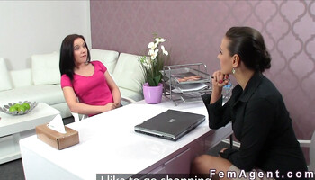 Lesbian casting couch with shy girl and naughty agent