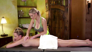 Massage therapy escalated into lesbian sex between two blondes