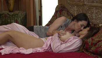 Two beautiful ladies practice lesbian sex in private