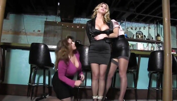 Busty MILF gets tied up by two dominant ladies