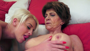 Lesbian granny makes love to her blonde girlfriend